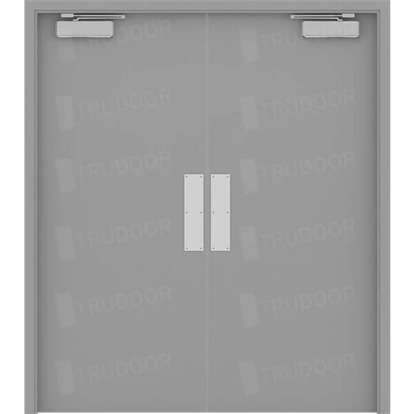 Both Doors Active w/ Push/Pull Hardware & Commercial Steel Double Doors | Hollow Metal Door Pair