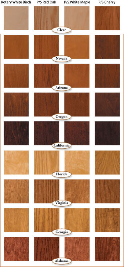Prefinished Wood Door Color Chart