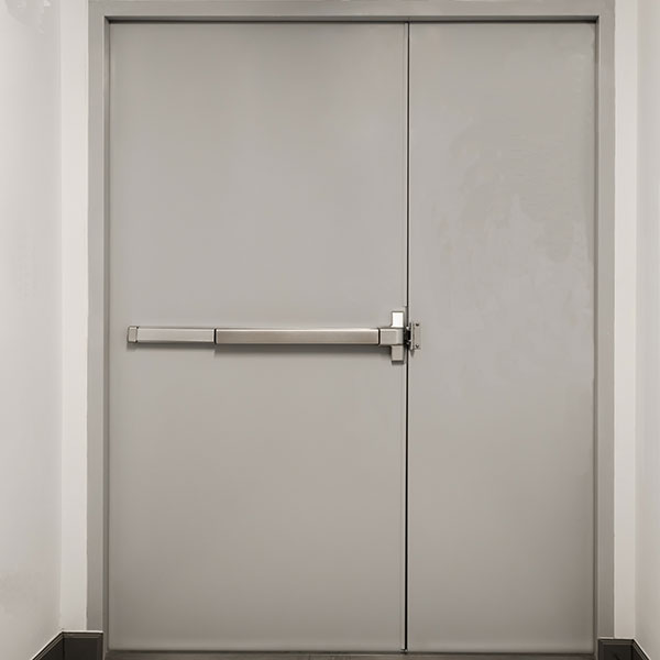 Hollow Metal Double Doors with Rim Exit Device on Active Door