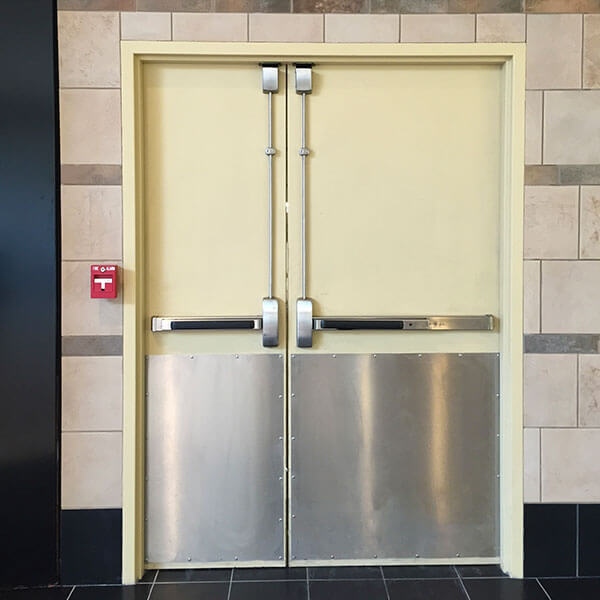 Double Doors with Surface Vertical Rod Exit Devices (Less Bottom Rod)