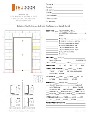 Hollow Metal Frame Replacement Worksheet