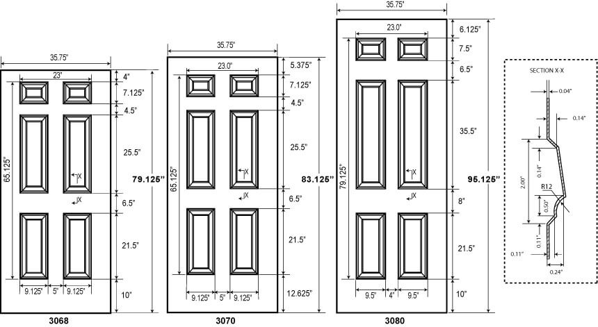 6 Panel Commercial Metal Doors Embossed Steel Doors
