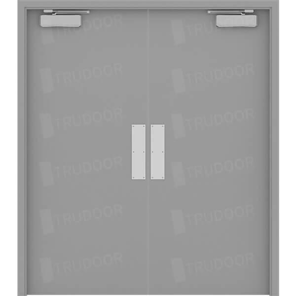 Both Doors Active w/ Push/Pull Hardware & Commercial Steel Double Doors | Hollow Metal Door Pair